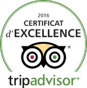 Certificat d'EXCELLENCE tripadvisor 2016